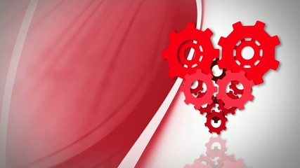 Heart gear on animated background