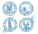 Ink travel stamps collection: Pisa, Paris, Prague, Egypt