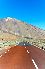 Road in Front of Volcano Teide, Tenerife, Spain