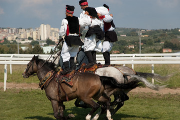 "Horse competition ""Pariglie"" in Sardinia, Italy"