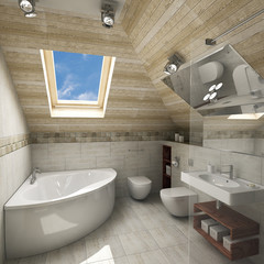 Interior of new modern bathroom in daylight, 3D render
