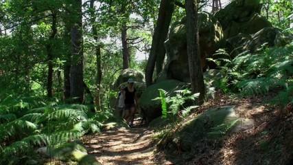 Couple randonnant en forêt
