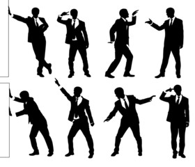 Set of silhouettes of a funny businessman.