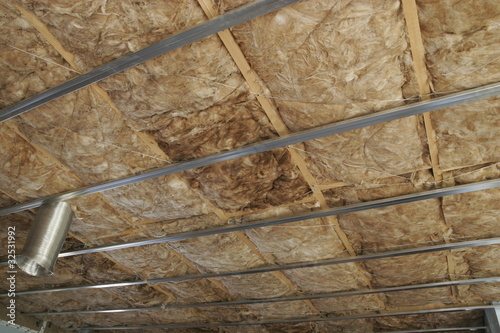 detail of roof insulation in a new house