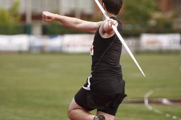 Male athlete with a javelin