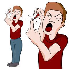 Man Pricking His Finger