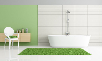 minimalist green and white bathroom