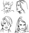 Four woman outlined faces (vector)