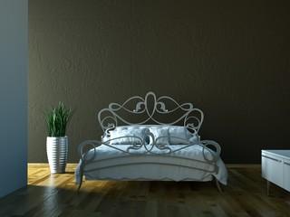 Schlafzimmer - Bett vor brauner Wand