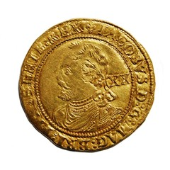 Old British hammered gold coin isolated, Laurel of James I