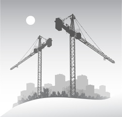 Silhouette of a large dockside construction crane