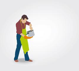 Silhouette d'un homme grattant une casserole