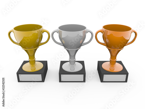 Three metal trophys
