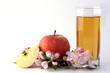 Apfel mit Saftglas