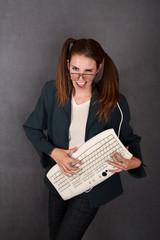 Nerdy Girl with Keyboard
