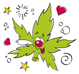 funny laughing marijuana leaf