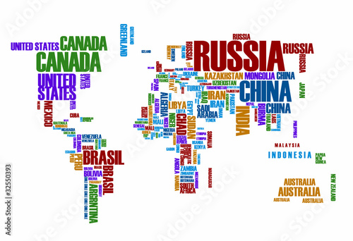 World map:the contours of the country consists of the words