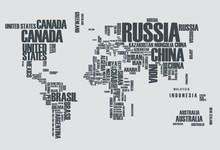 Carte du monde: les contours du pays se compose des mots