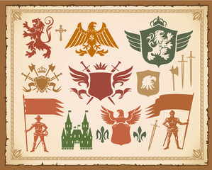 Heraldic set with lions, weapons and eagles