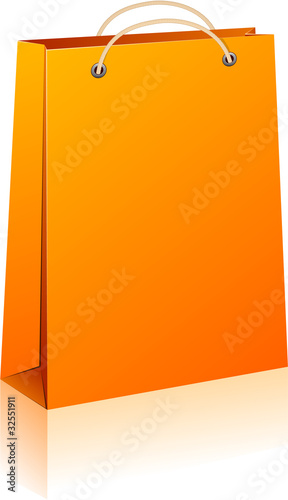 Orange shopping bag.