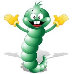Verme Verde Cartoon-Funny Green Worm-Vector