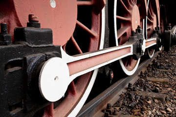 Close-up Detail of Retro Steam Train Wheels