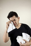 Drama guy, A man having lot of tissue paper crying. poster