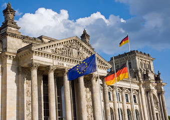 Reichstag with German and European flag
