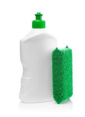 white bottle and kitchen sponge