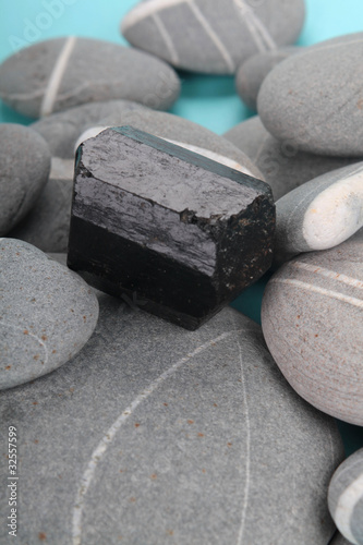 obsidian over rocks