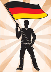 sports fan with Flag of Germany