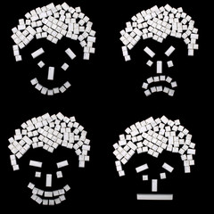 4 keyboard buttons face expressions