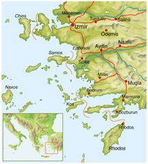 Landkarte von der Tuerkei, Westkueste