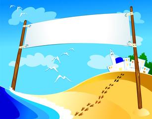 Banner on marine landscape