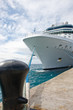 Massive White Cruise Ship Tied to Black Bollard on Pier