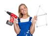 heimwerkerin mit akkuschrauber und zollstock