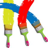Three paint brushes