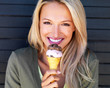 Attractive young girl with an ice cream