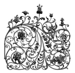 Forged decorative lattice with flowers. Isolated