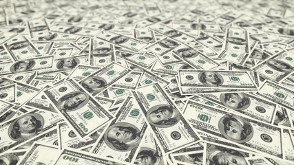 Background with money american hundred dollar bills.loop