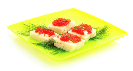 Red caviar and bread isolated on white