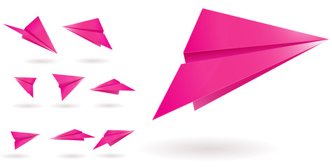pink paper planes isolated on white background