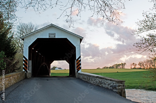 Erb's Covered Bridge at Sunset,Lancaster County,PA.