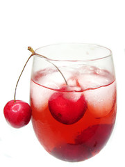 alcohol liqueur cocktail with cherry