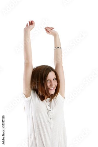 happy young woman (white background)