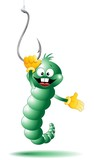 Verme Esca e Amo da Pesca Cartoon-Worm and Fish Hook-Vector