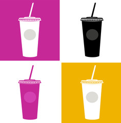 Plastic cup / glass icons - pink, black, yellow, white. VECTOR