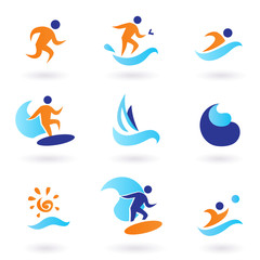 Summer swimming and surfing icons - blue, orange.