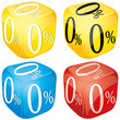 Four dices with 0 percent on side different colored,  vector