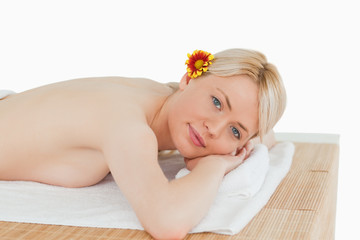 Young gorgeous female posing in a spa centre